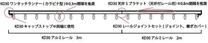 アルミカーテンレール(KD30)